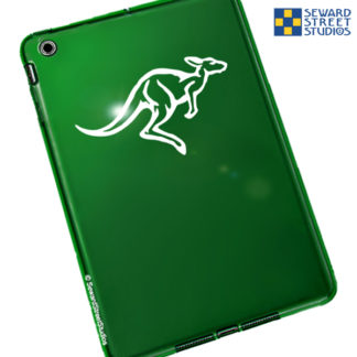 Seward Street Studios Kangaroo Vinyl Decal Shown on a Black Phone