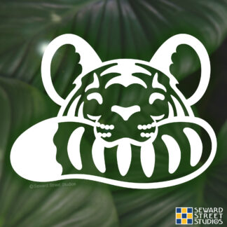 Seward Street Studios Tiger Biting Tail Vinyl Decal. Shown on a jungle background