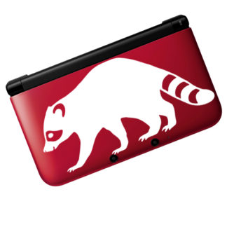 Seward Street Studios Raccoon Vinyl Decal. Shown on a red 3ds.