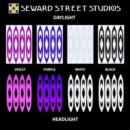 Hyper Reflective Art Deco Decal Set - Violet, Purple, White, Black