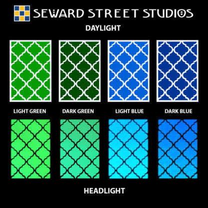 Hyper Reflective Quatrefoil Tiles Decal Set - Light Green, Dark Green, Light Blue, Dark Blue