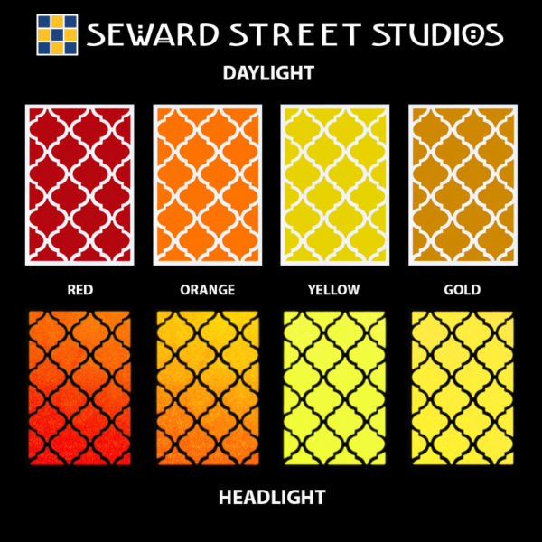 Hyper Reflective Quatrefoil Tiles Decal Set - Red, Orange, Yellow, Gold