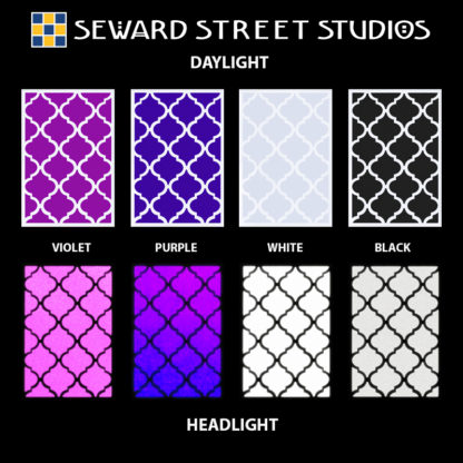 Hyper Reflective Quatrefoil Tiles Decal Set - Violet, Purple, White, Black