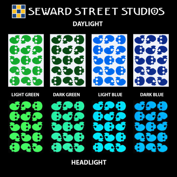 Hyper Reflective Skulls Decal Set - Light Green, Dark Green, Light Blue, Dark Blue