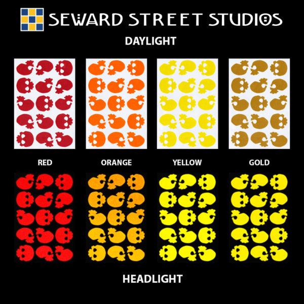 Hyper Reflective Skulls Decal Set - Red, Orange, Yellow, Gold
