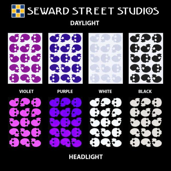 Hyper Reflective Skulls Decal Set - Violet, Purple, White, Black