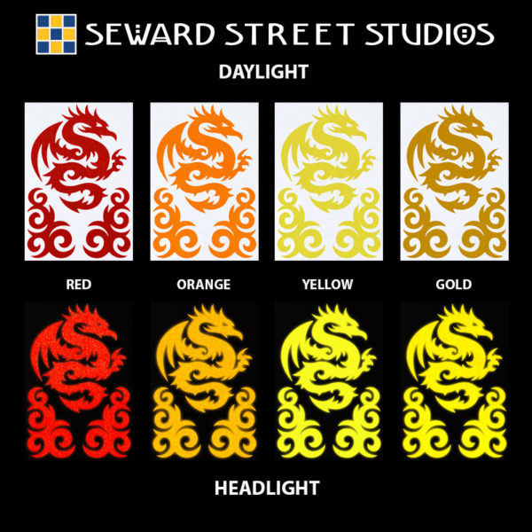 Hyper Reflective Tribal Dragon Decal Set - Red, Orange, Yellow, Gold
