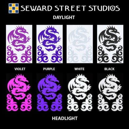 Hyper Reflective Tribal Dragon Decal Set - Violet, Purple, White, Black