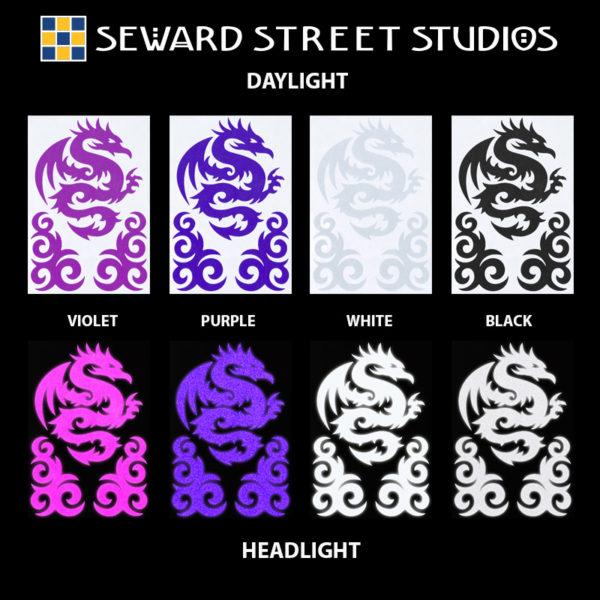 Hyper Reflective Tribal Dragon Decal Set - Violet, Purple, White, Black