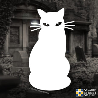 Seward Street Studios Cat Silhouette Vinyl Decal. Shown on a graveyard background