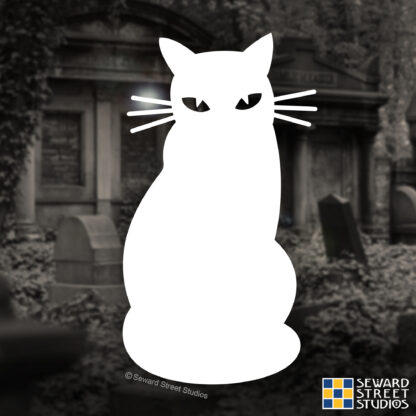 Seward Street Studios Cat Silhouette Vinyl Decal. Shown on a graveyard background