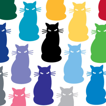 Seward Street Studios Sitting Cat Vinyl Decal. Shown in several different colors.
