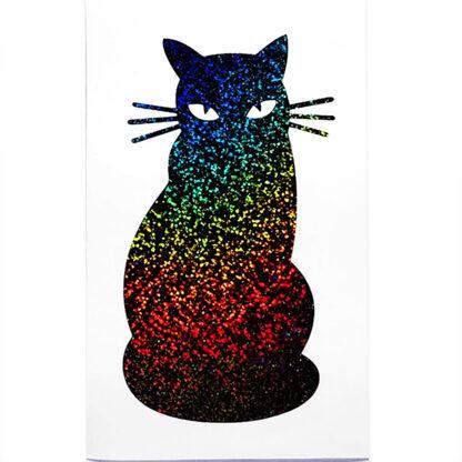 Seward Street Studios Cat Silhouette Vinyl Decal. Shown in black holographic glitter vinyl