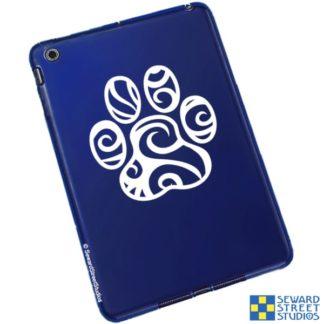 Seward Street Studios Tribal Paw Vinyl Decal. Shown on a blue tablet