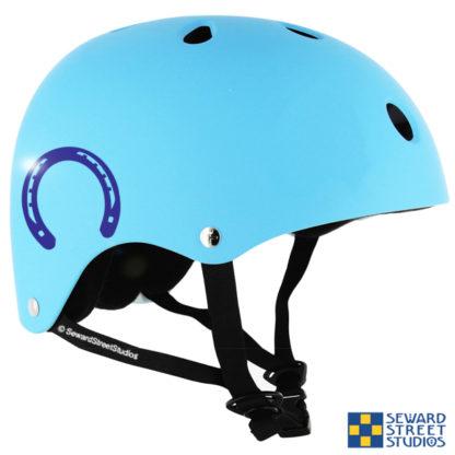 Seward Street Studios Horse Shoe Vinyl Decal. Shown on a blue helmet