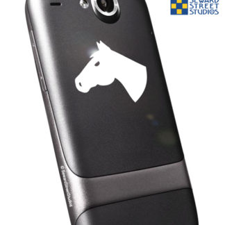 Seward Street Studios Horse Head Vinyl Decal. Shown on a phone