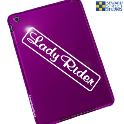 Seward Street Studios Lady Rider Vinyl Decal. Shown on a red tablet
