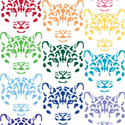 Seward Street Studios Leopard Vinyl Decal. Shown in several different colors.