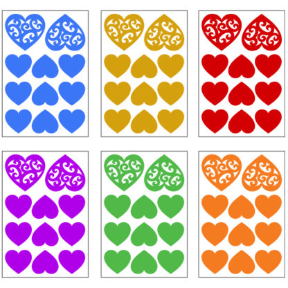 Reflective Tribal Hearts Decal Set
