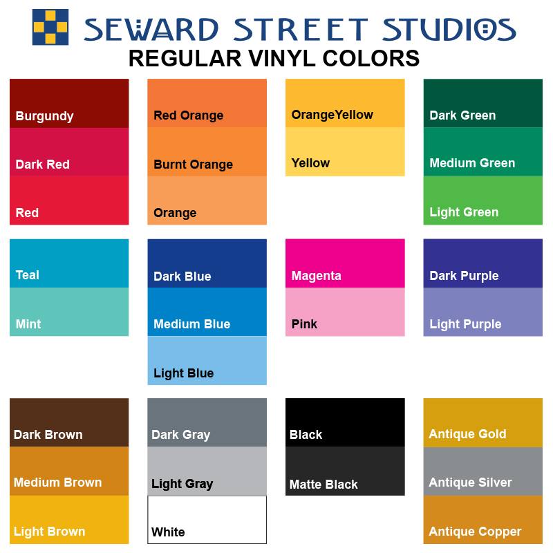 Regular Vinyl Color Chart