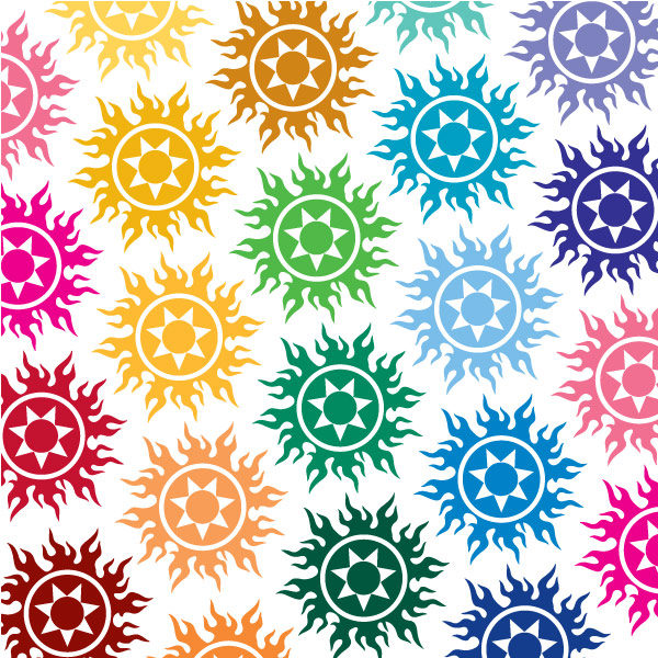 Seward Street Studios Tribal Sun Vinyl Decal. Shown in several different colors.