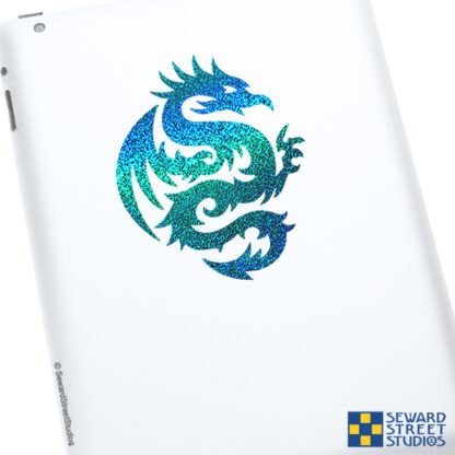 Teal Tribal Dragon Glitter Vinyl Decal