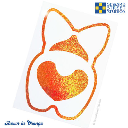 Orange Corgi Butt Holographic Glitter Vinyl Decal