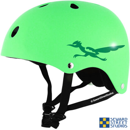 469 Seward Street Studios Roadrunner Decal shown on a green helmet