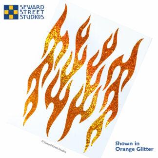 876 orange holographic glitter flame decal set