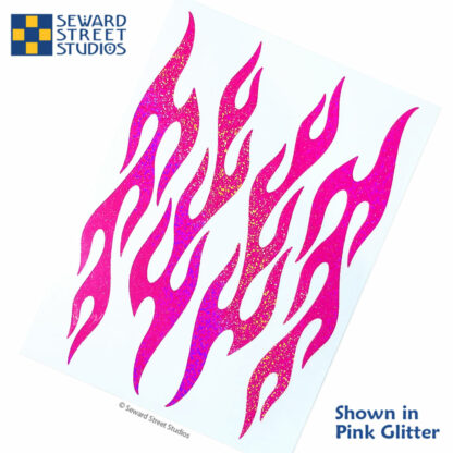876 pink holographic glitter flame decal set