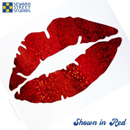 Red holographic glitter lips decal