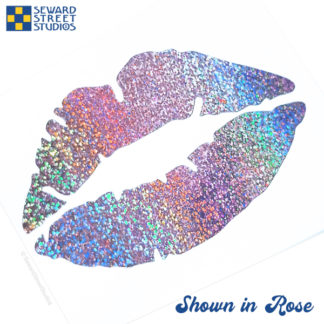 Rose holographic glitter lips decal