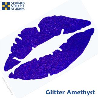 992 Holographic Glitter Lips Decal by Seward Street Studios shown in glitter amethyst