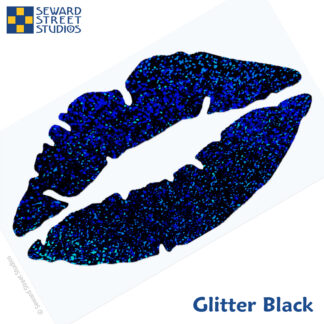 992 Holographic Glitter Lips Decal by Seward Street Studios shown in glitter black