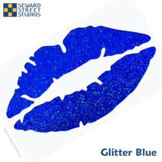 992 Holographic Glitter Lips Decal by Seward Street Studios shown in glitter blue