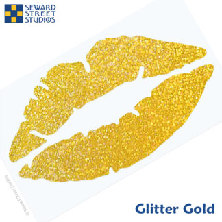 992 Holographic Glitter Lips Decal by Seward Street Studios shown in glitter gold