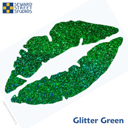 992 Holographic Glitter Lips Decal by Seward Street Studios shown in glitter green