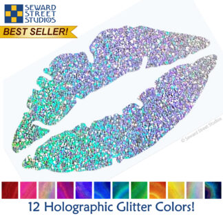 992 Holographic Glitter Lips Decal by Seward Street Studios shown with 12 glitter vinyl color options