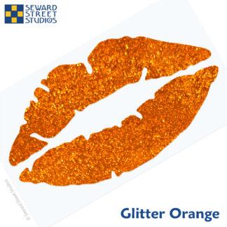 992 Holographic Glitter Lips Decal by Seward Street Studios shown in glitter orange