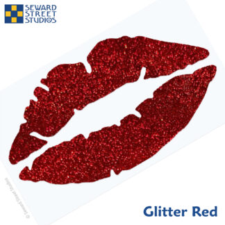 992 Holographic Glitter Lips Decal by Seward Street Studios shown in glitter red
