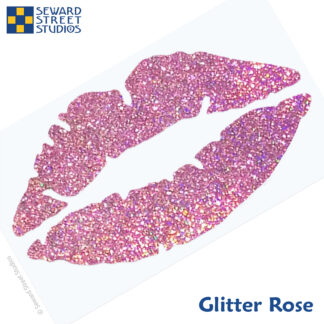 992 Holographic Glitter Lips Decal by Seward Street Studios shown in glitter rose