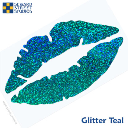 992 Holographic Glitter Lips Decal by Seward Street Studios shown in glitter teal