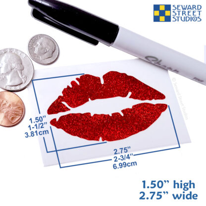 992 Holographic Glitter Lips Decal by Seward Street Studios shown with dimensions