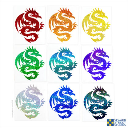 Seward Street Studios Tribal Dragon Glitter Vinyl Decal. Shown in several different colors.
