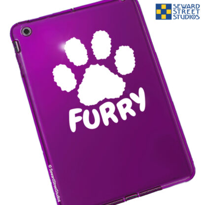 Seward Street Studios Furry Paw Print Vinyl Decal. Shown on a red tablet.