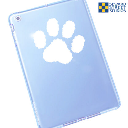 Seward Street Studios Paw Print Vinyl Decal. Shown on a blue tablet.