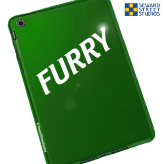 Seward Street Studios Furry Vinyl Decal. Shown on a green tablet.