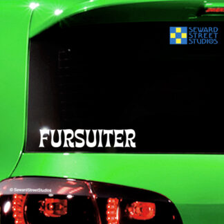 Seward Street Studios Fursuiter Vinyl Decal. Shown on a green car.