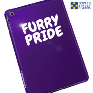 Seward Street Studios Furry Pride Vinyl Decal. Shown on a purple tablet.