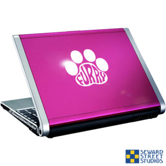 Seward Street Studios Furry Paw Print Vinyl Decal. Shown on a pink laptop.